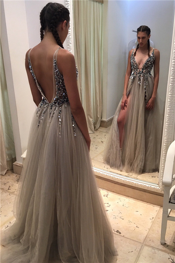 472f39acda Luxury Crystals Prom Dresses Side Slits Deep V-Neck Long Evening Gowns