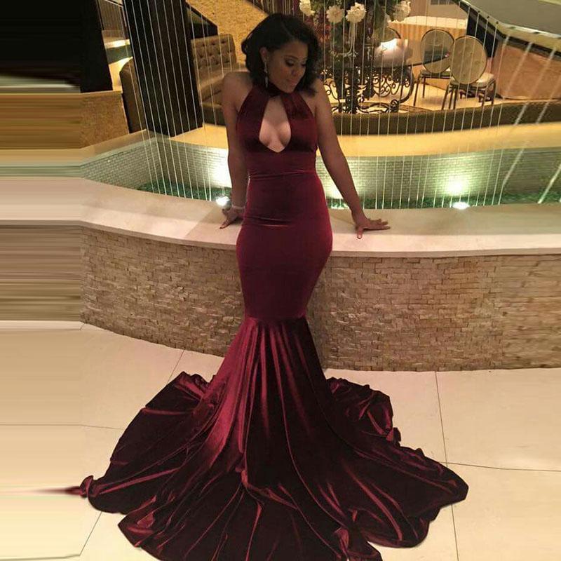 8e05e912599 Sexy Burgundy Velvet Prom Dresses Halter Keyhole Neckline Sleeveless ...