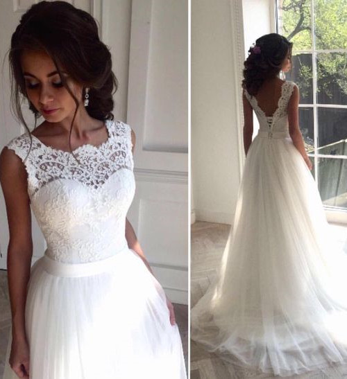 Elegant A Line Wedding Dresses Lace Sleeveless Elegant Simple Bridal Gowns