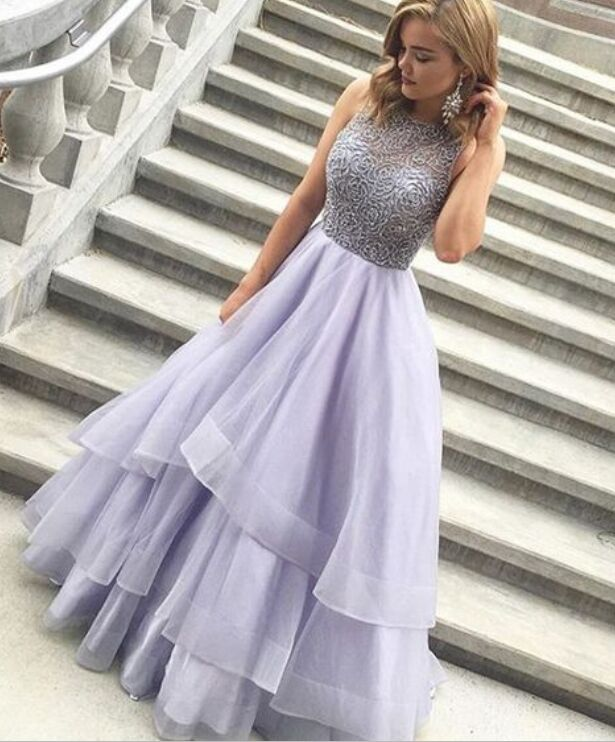 Sparkly Long Lavender Beaded Prom Dresses For Teens,Handmade Pretty ...