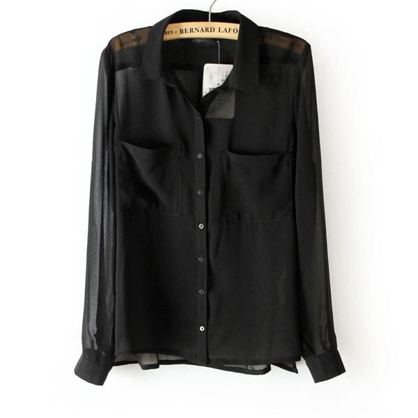 f08758e2 ... Sexy Sheer Chiffon Blouse Button Down Shirt Tops 2 Pockets - Thumbnail  3 ...
