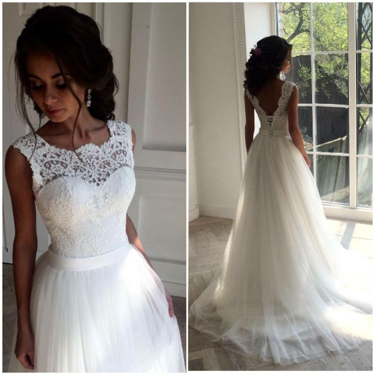 White Long Lace Wedding Dresses,Handmade Backless Lace Up Wedding ...