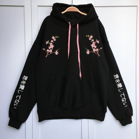 Cherry Blossom Embroidered Hoodie On Storenvy