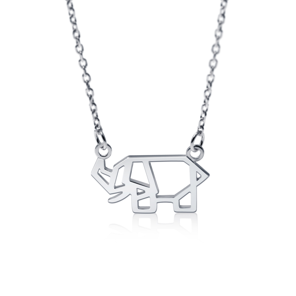 Hanfly 925 Sterling Silver Elephants Necklace Origami Necklace 16