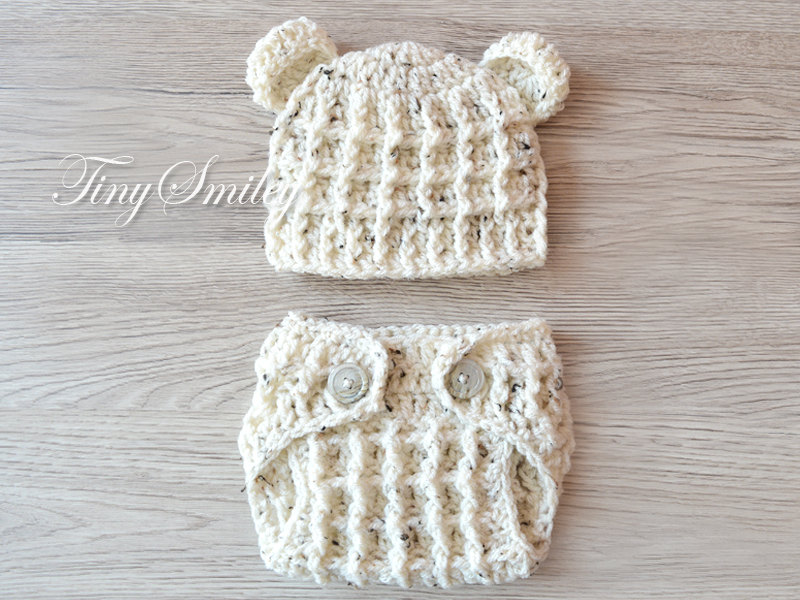 06af81cea Newborn Set, Diaper Cover and Hat, Crochet Baby Set, Photo Prop, Baby Boy  Outfit, Sets for Boys, Bear Baby Set, Bear Newborn Hat, Animal Set