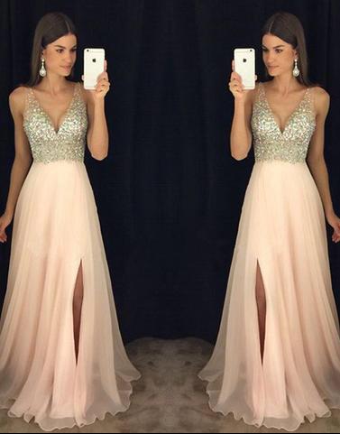 f6e3b90415 A-line V-neck Beaded Bodice Blush Pink Chiffon Prom Dresses for 2018 Spring
