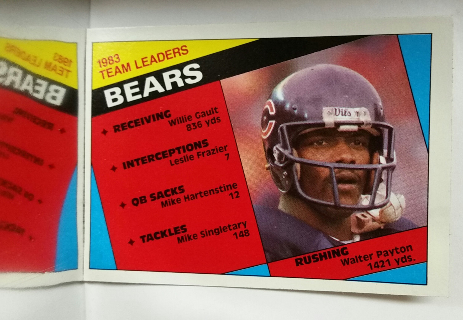 1984 Topps # 221 Bears Leaders, Walter Payton, Chicago Bears, NM+