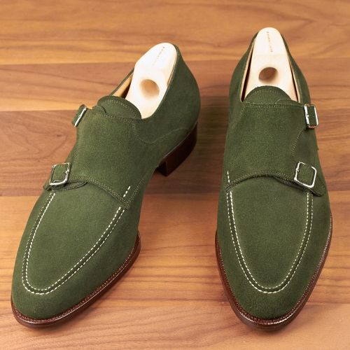 Handmade Mens Hunter Green Suede Monk Shoes Mens Formal Shoes Men