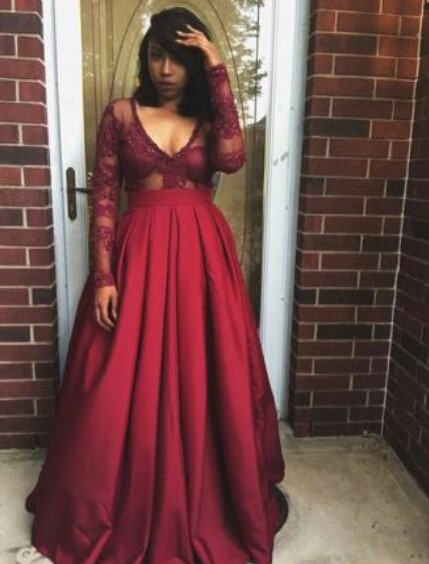 52c5c42d010686 Long sleeve lace Red Evening Prom Dresses, A line Party Prom Dresses, Long  Prom