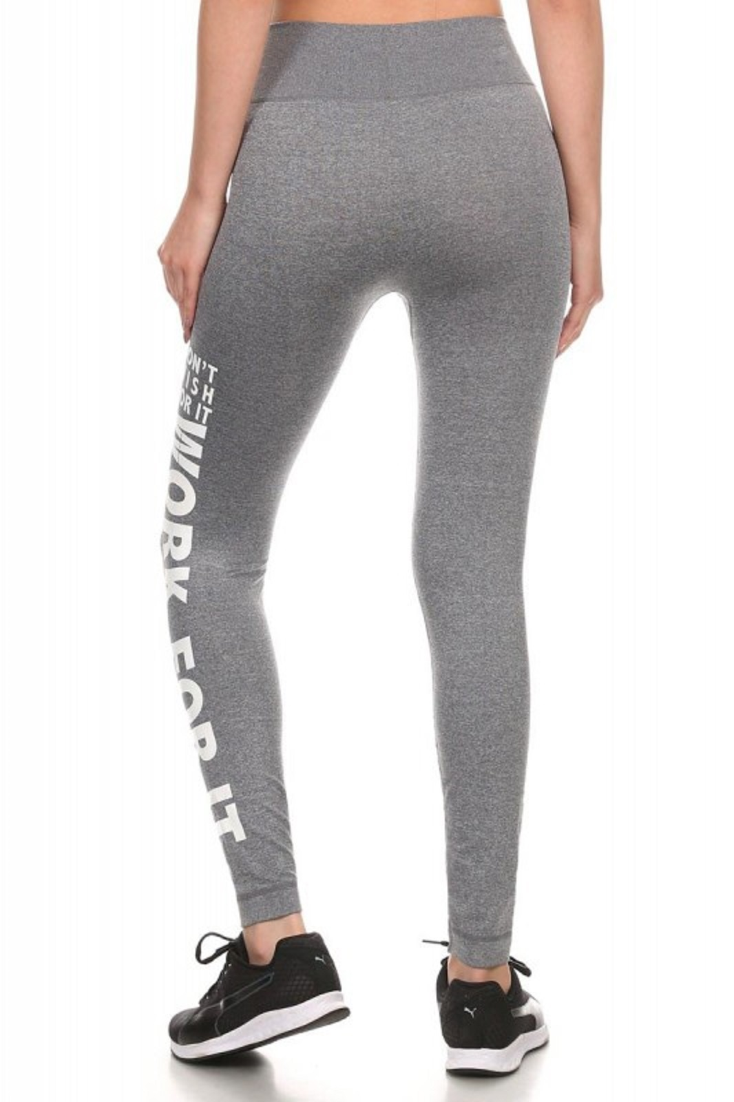 f1a720c2d9429 Gray & White ActiveWear Leggings With 'Dont Wish For It Work For It ...