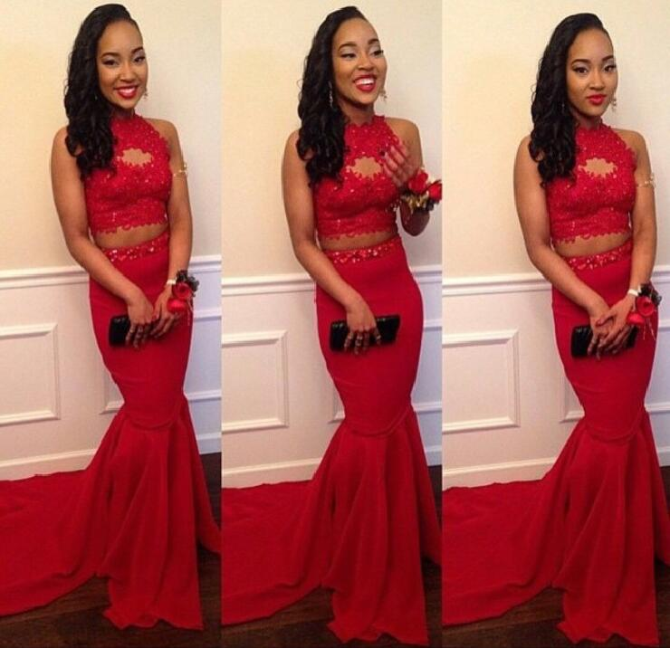 Two Pieces Red Long Evening Prom Dresses Sexy 2017 Party Prom Dress