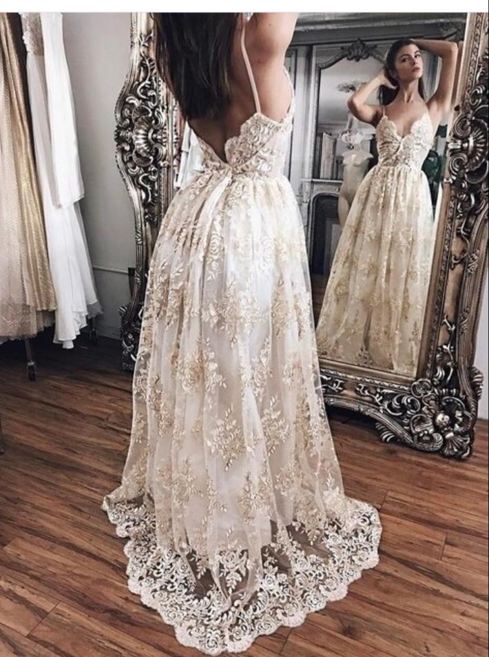 785013eeb4ced Elegant lace long prom dress, backless long evening dress for teens