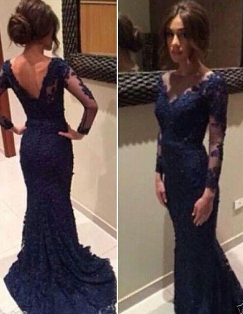 Elegant Long Sleeve Prom Dresslace Evening Dress Formal Prom