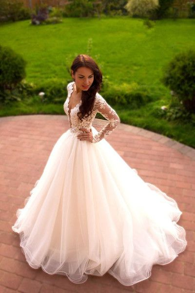 Vintage V-neck Long Sleeves Wedding Dress,Lace Prom Evening Gowns ...
