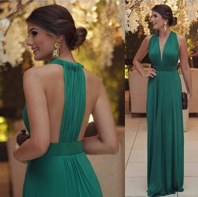 Halter V Neck Green Jersey Long Bridesmai Dresses Simle Long Prom Dresses Wedding Guest Gowns Pd2013 From Didopromcouture