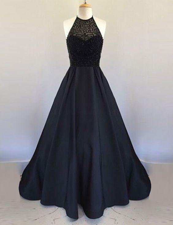 ad2149218d5 Black Halter Beaded Satin Long Prom Dresses
