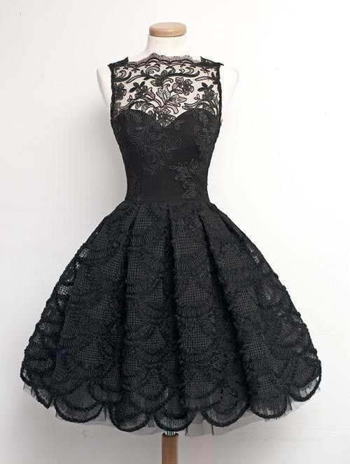 Cute Black Lace Short Prom Dressblack Evening Dresshomecoming