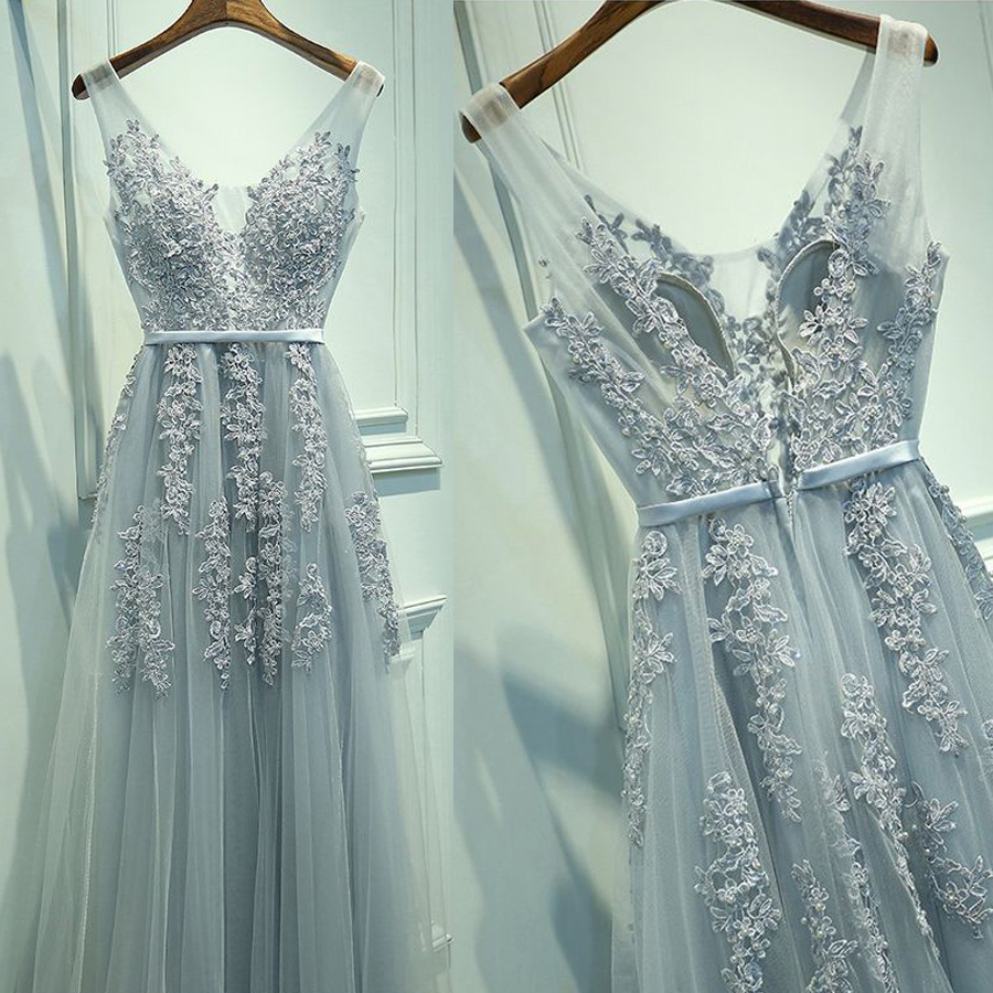 Lace Appliqued Prom Dress,Silver Tulle Long Formal Dresses,Long ...