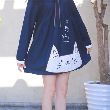 c818ac54e02 Mori 20kawaii 20cat 20embroidery 20doll 20collar 20dress 20navy 20style 20  20mg2363 small