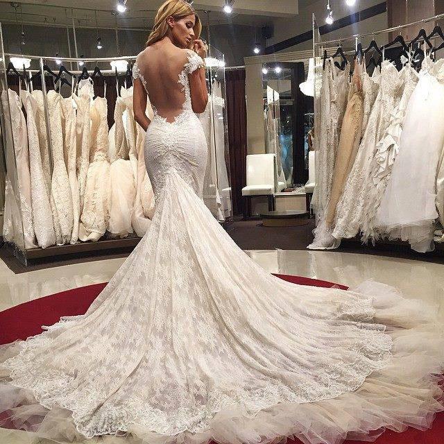 Sexy Wedding Dresses Mermaid Wedding Dress Lace Backless Wedding Dresses Cap Sleeves Wedding Dress Appliques Bridal Gowns Wedding Dress Sold By Friendly Dress On Storenvy