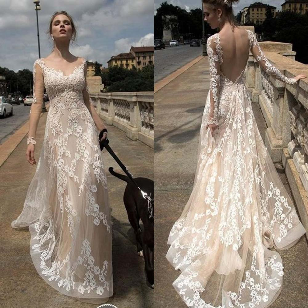 b2353e7907c Lace Gown Open Back Boho And Beach Wedding Dresses