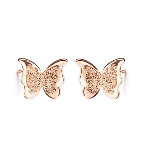 921f265bd Rose Gold Plated Frosted Double Layer Butterfly Ear Stud Earrings ...