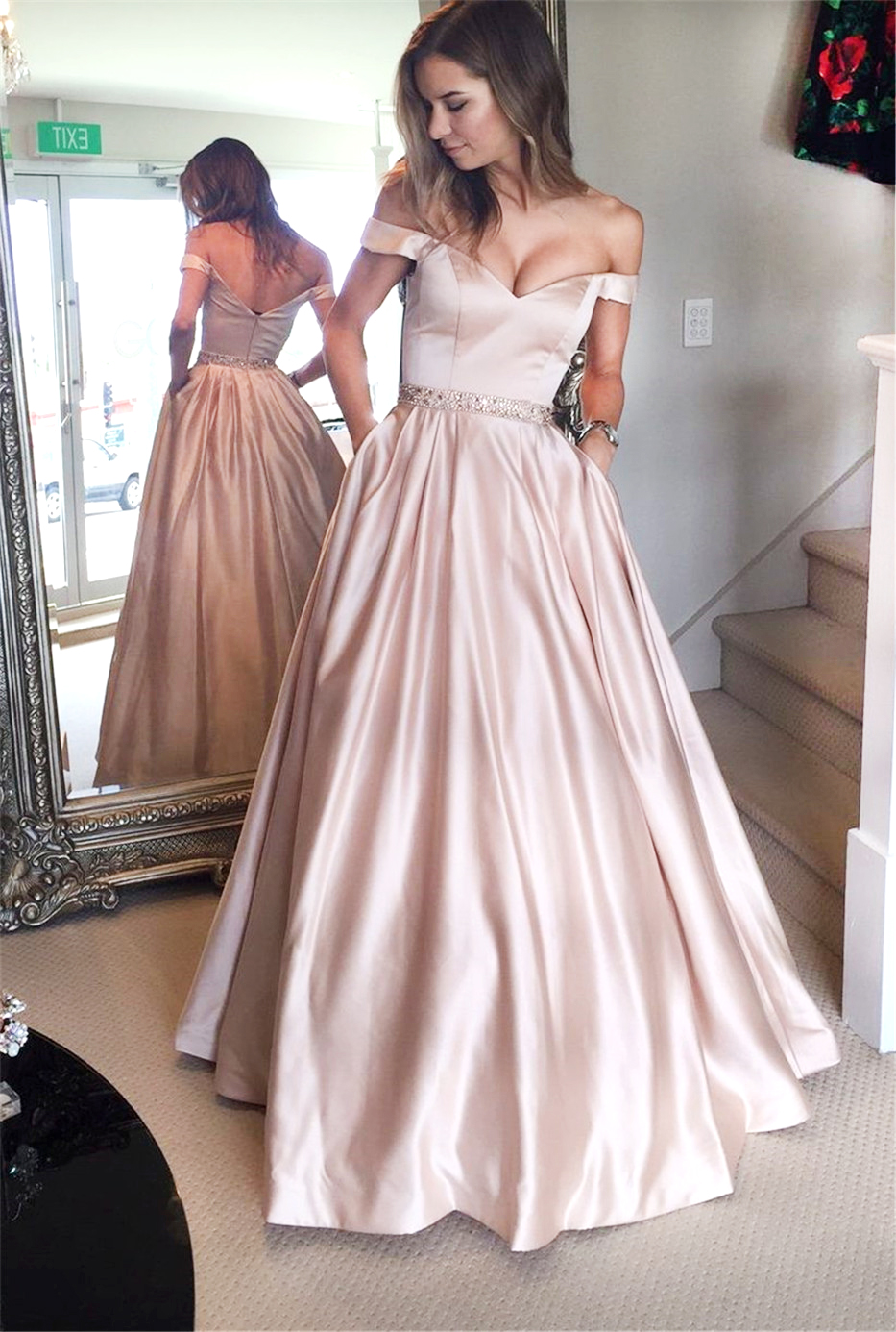 Stylish light pink off shoulder long prom dress,light pink evening ...