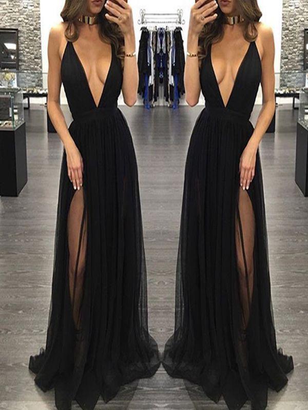 D103 Deep V Neckline Party prom dresses, Black Tulle Evening prom ...