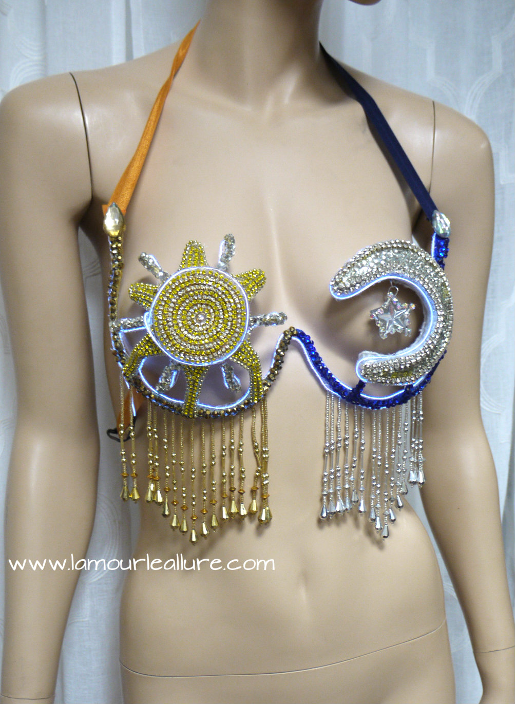 879f0be7f23 LED Sun and Moon Samba Bra Cosplay Dance Costume Rave Bra Rave Wear  Halloween Burlesque Show Girl from L'Amour Le Allure