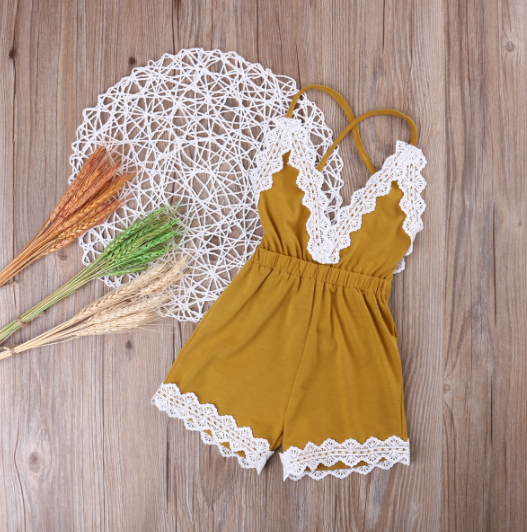 58a7bdaf38d Baby Toddler Mustard Yellow Lace Romper · Blush + Willow