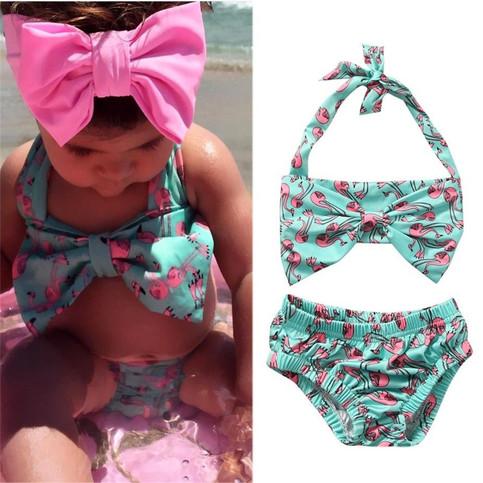 P S I Love You More Boutique Cute Flamingo 2 Piece Swim