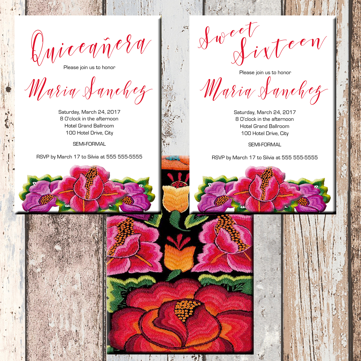 Modern Mexican Flowers Quinceanera Or Sweet 16 Personalized Birthday Invitation 2 Sided Card
