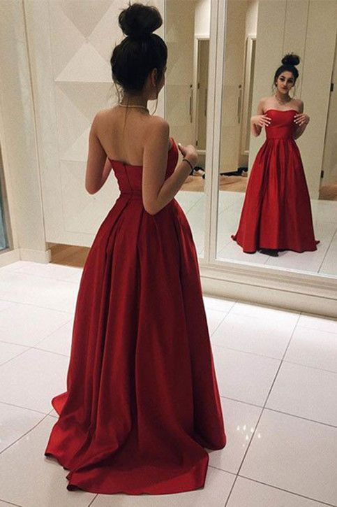 Red Long Prom Dresses Elegant Red Satin Prom Dress Ball Gown Simple Prom Dress Sweetheart ...