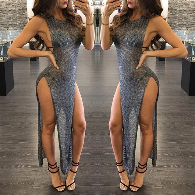 women sexy dress club vestido split sequins blink clothes off ... 46acd8e5e2