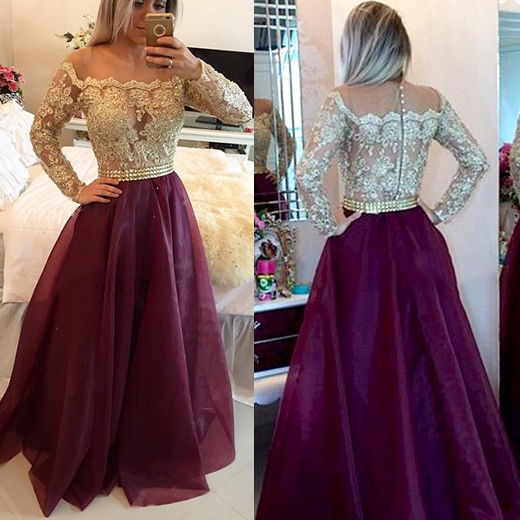 c15033da36a3 Chic off the shoulder grape prom dress two toned prom dresses long sleeves  lace prom dresses