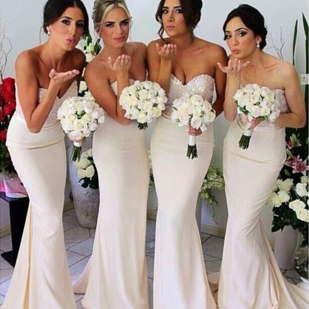 Ivory Bridesmaid Dresses With Glittering Beaded Sweetheart