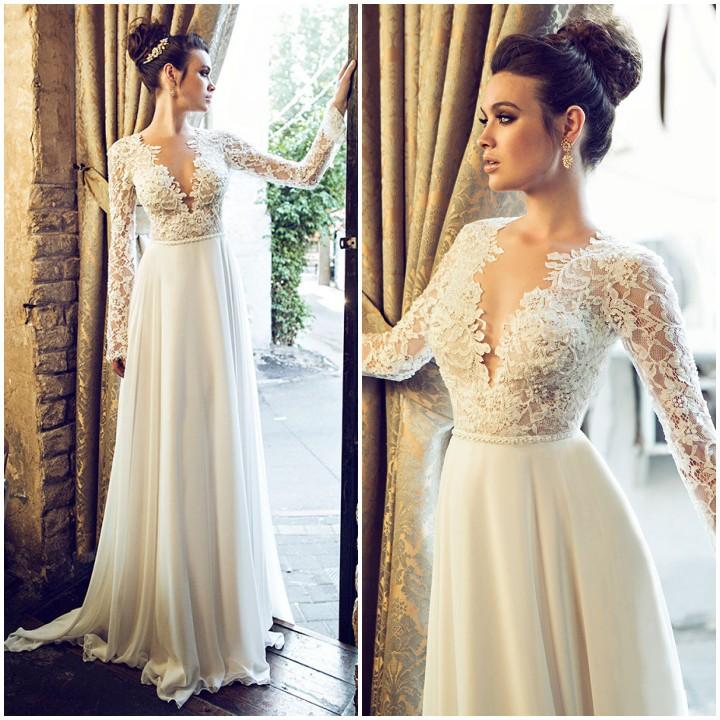 H305 V Neck Long Sleeve Wedding Dresses, Empire Evening Dresses ...