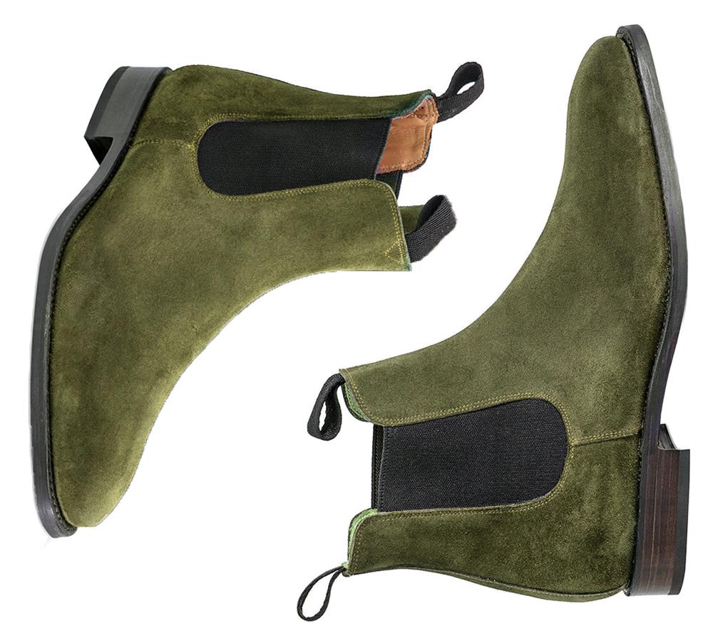 Handmade Chelsea Suede Boots, Green