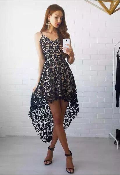 4bd365c5e529 ... White lace high low prom dress