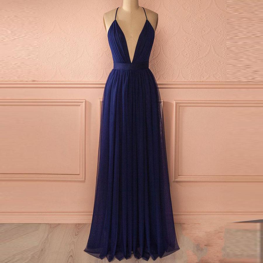 ebe0fd885e59 Sexy Navy Blue Deep V Neck Party Dress