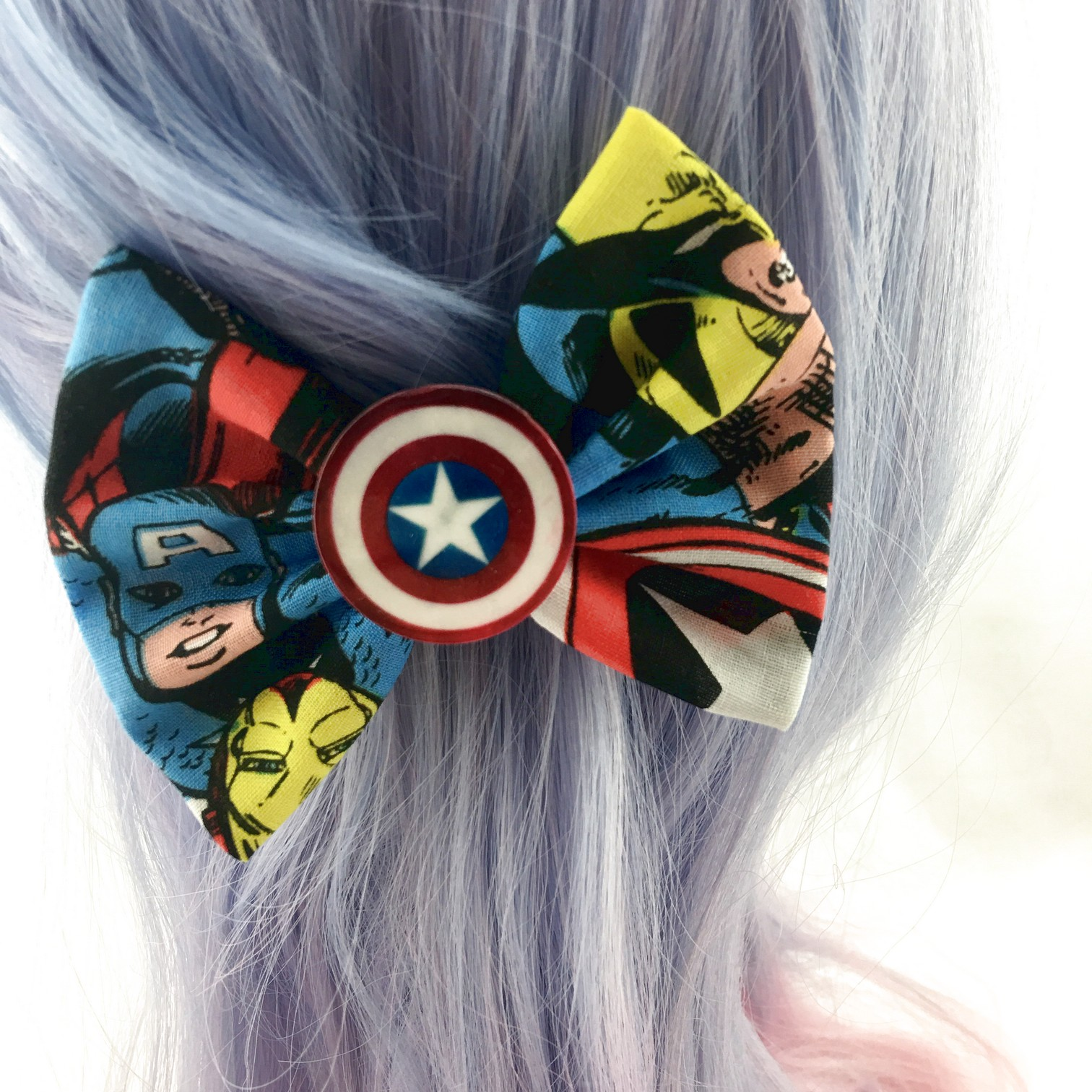 avengers - captain america-hulk and iron man fabric hair bow with