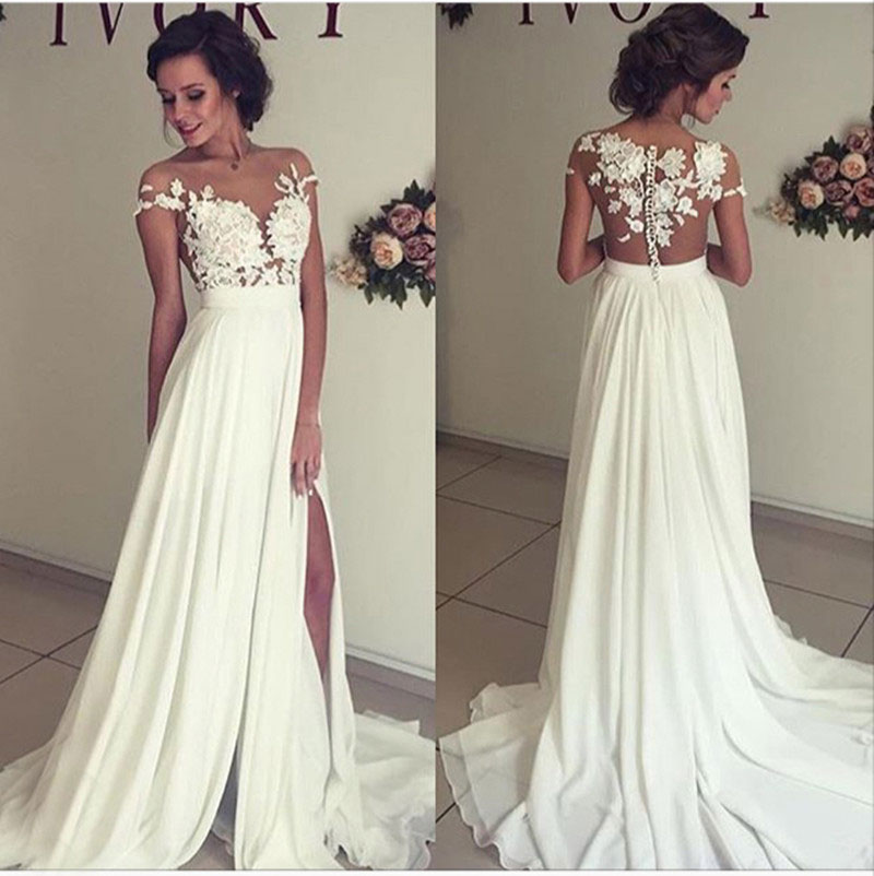 475692cd3e Beach Wedding Dresses, Lace Chiffon Prom Dress, Sexy Prom Dresses, Ivory  Bride Dresses, Chiffon Wedding Dress, Vintage Wedding Dress Plus Size