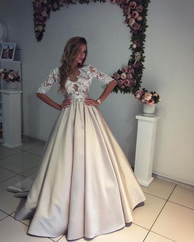 Champagne satin lace wedding dress, prom dress · dress day · Online ...