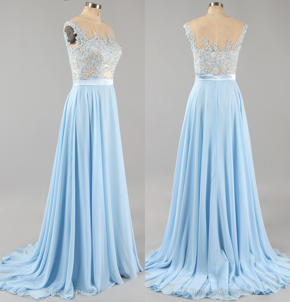 Lace Applique Light Blue Prom Dress , Chiffon Prom Dresses, Cheap A ...