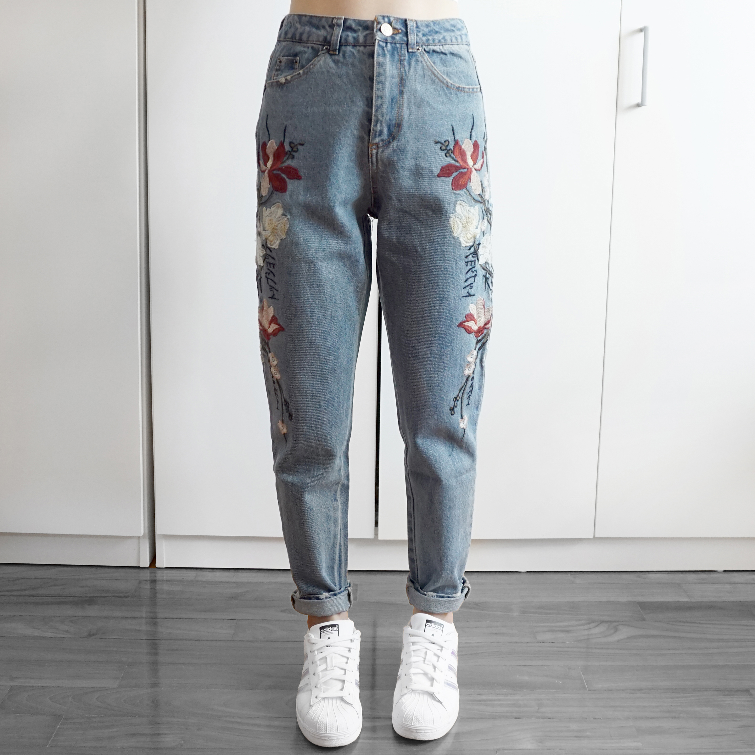 850c3e94882 Embroidered Floral Boyfriend Denim Jeans (Med Blue) - Thumbnail 1 ...