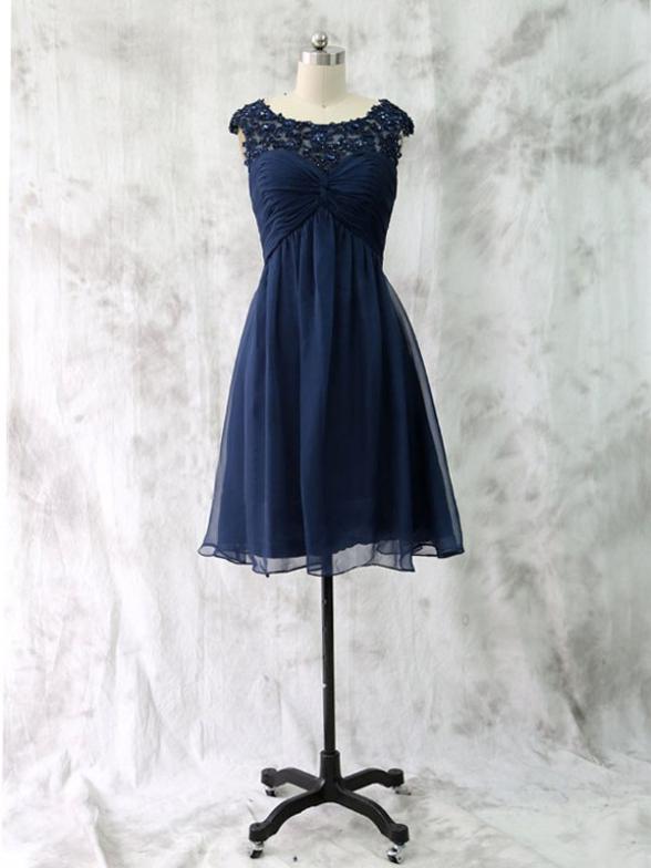 Short custom bridesmaid dresses, navy