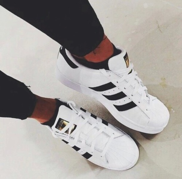 Superstar Fashion Casual Shoes Classic Black Adidas White Gold vOPm80yNnw