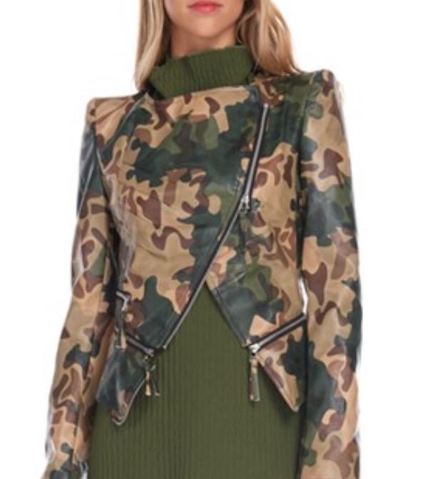 9aa5b1abd Army print leather jacket