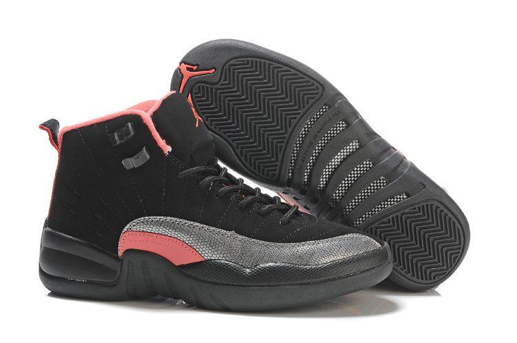 d623fd1e0355e8 Nike Air Jordan 12 Womens Black Siren Red Pink · Sneakeronline ...