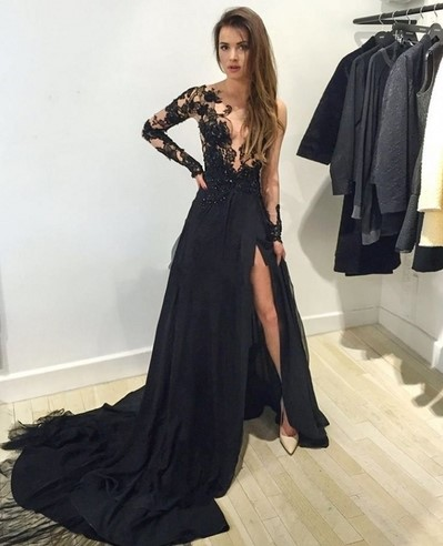Black Lace Long Sleeve Prom Dressformal Dresses With Slit Dress